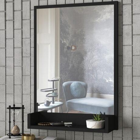 Oglindă de perete cu ramă neagră și raft Hanna