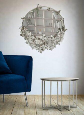 Oglinda decorativa din metal Butterfly Argintiu, 91 cm