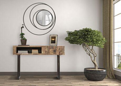 Oglinda decorativa din metal Circles Negru, 80 cm