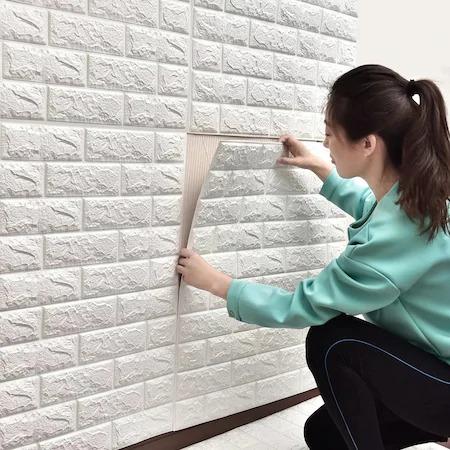 Tapet Autoadeziv 3D Alb design perete din caramida in relief Emag