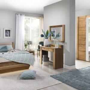 Set Mobila Dormitor din furnir si pal, cu pat 200 x 140 cm, 6 piese Velvet Stejar Rustic / Bej