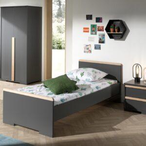 Set Mobila dormitor din lemn de fag si pal, pentru copii 3 piese London Antracit / Natural, 200 x 90 cm