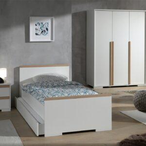 Set Mobila dormitor din lemn de fag si pal, pentru copii 4 piese London Alb / Natural, 200 x 90 cm
