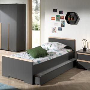 Set Mobila dormitor din lemn de fag si pal, pentru copii 4 piese London Antracit / Natural, 200 x 90 cm