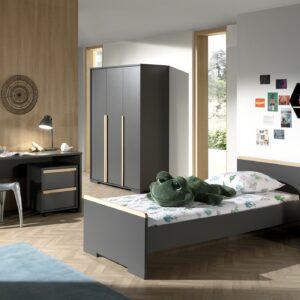 Set Mobila dormitor din lemn de fag si pal, pentru copii 5 piese London Antracit / Natural, 200 x 90 cm