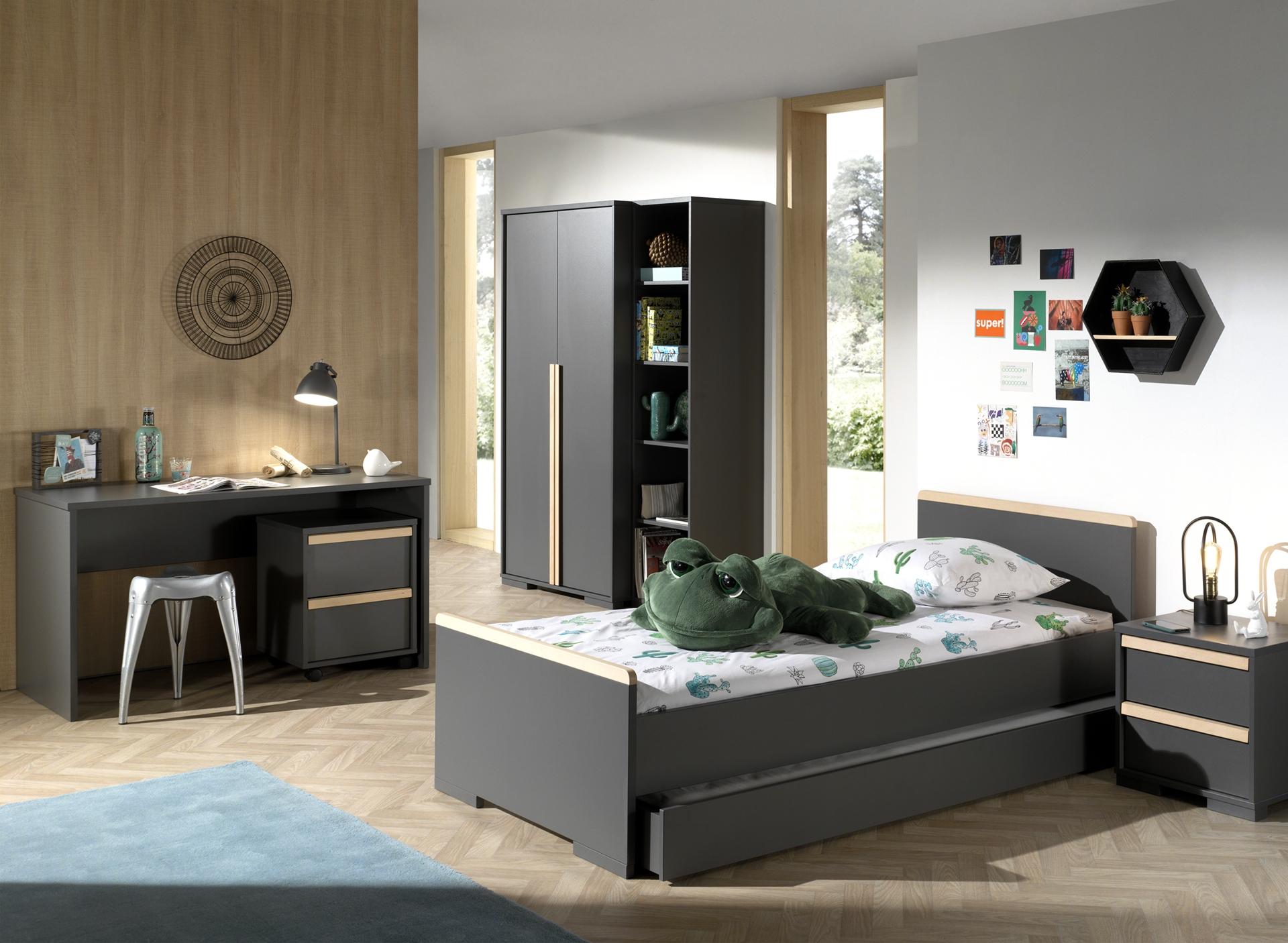Set Mobila dormitor din lemn de fag si pal, pentru copii 7 piese London Antracit / Natural, 200 x 90 cm