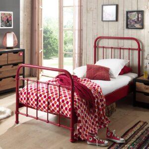 Set Mobila dormitor din lemn de pin si MDF cu pat metalic, pentru copii 3 piese New York Rosu / Natural, 200 x 90 cm