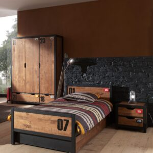 Set Mobila dormitor din lemn de pin si MDF, pentru copii 4 piese Alex Natural / Negru, 200 x 90 cm