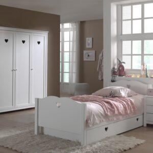 Set Mobila dormitor din lemn de pin si MDF, pentru copii 4 piese Amori Alb, 200 x 90 cm