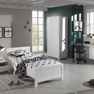 Set Mobila dormitor din lemn de pin si MDF, pentru copii 4 piese Erik Alb, 200 x 90 cm