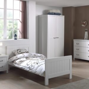Set Mobila dormitor din lemn de pin si MDF, pentru copii 4 piese Lewis II Alb, 200 x 90 cm