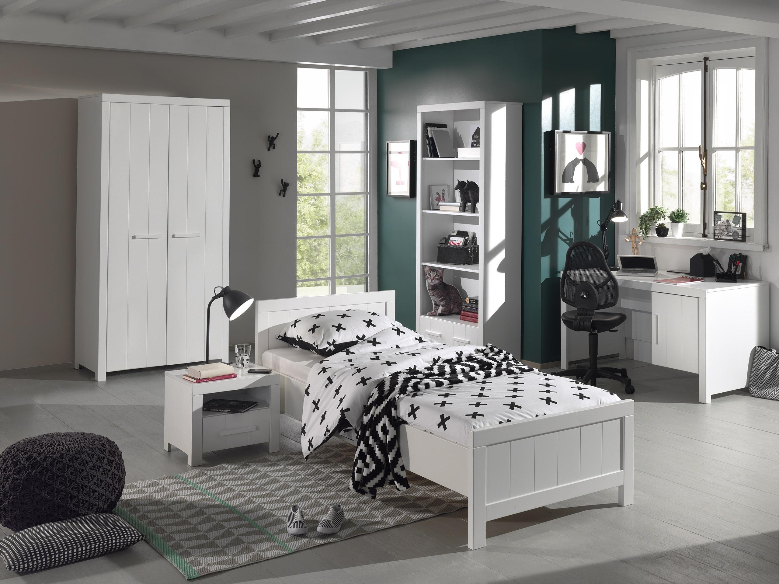 Set Mobila dormitor din lemn de pin si MDF, pentru copii 5 piese Erik Alb, 200 x 90 cm