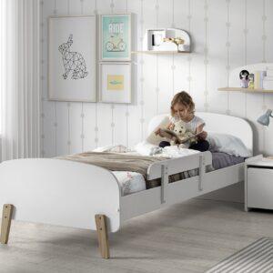 Set Mobila dormitor din lemn de pin si MDF, pentru copii 5 piese Kiddy Alb, 200 x 90 cm