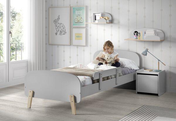 Set Mobila dormitor din lemn de pin si MDF, pentru copii 5 piese Kiddy Gri, 200 x 90 cm
