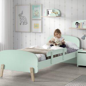 Set Mobila dormitor din lemn de pin si MDF, pentru copii 5 piese Kiddy Verde Mint, 200 x 90 cm