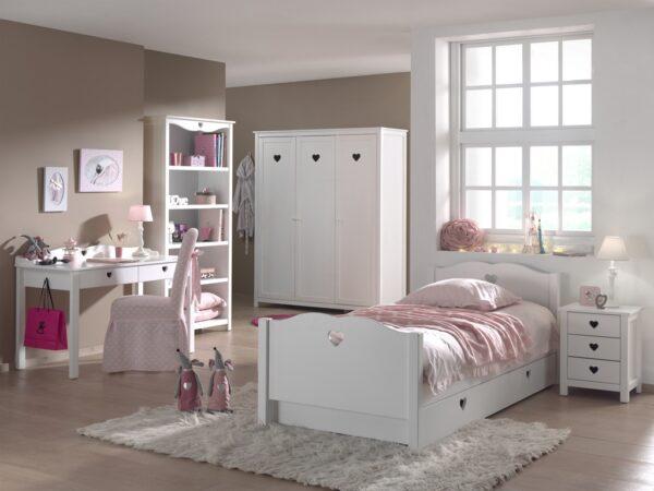 Set Mobila dormitor din lemn de pin si MDF, pentru copii 6 piese Amori Alb, 200 x 90 cm