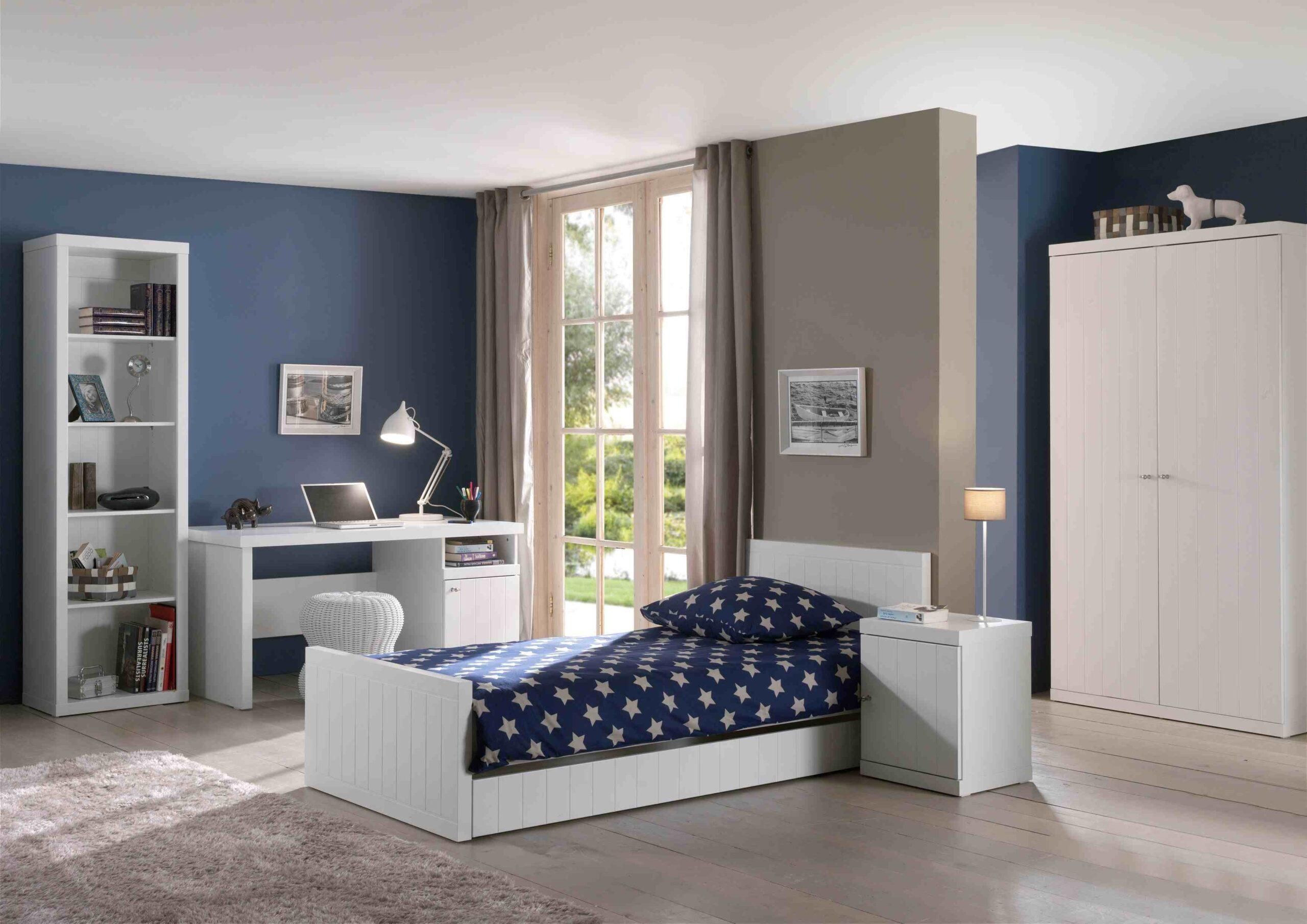 Set Mobila dormitor din lemn de pin si MDF, pentru copii 6 piese Robin Alb, 200 x 90 cm