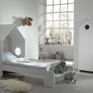 Set Mobila dormitor din MDF, pentru copii 2 piese Casami Alb, 200 x 90 cm