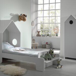 Set Mobila dormitor din MDF, pentru copii 2 piese Casami Gri / Alb, 200 x 90 cm