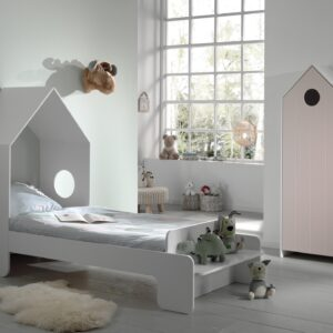 Set Mobila dormitor din MDF, pentru copii 2 piese Casami Roz / Alb, 200 x 90 cm