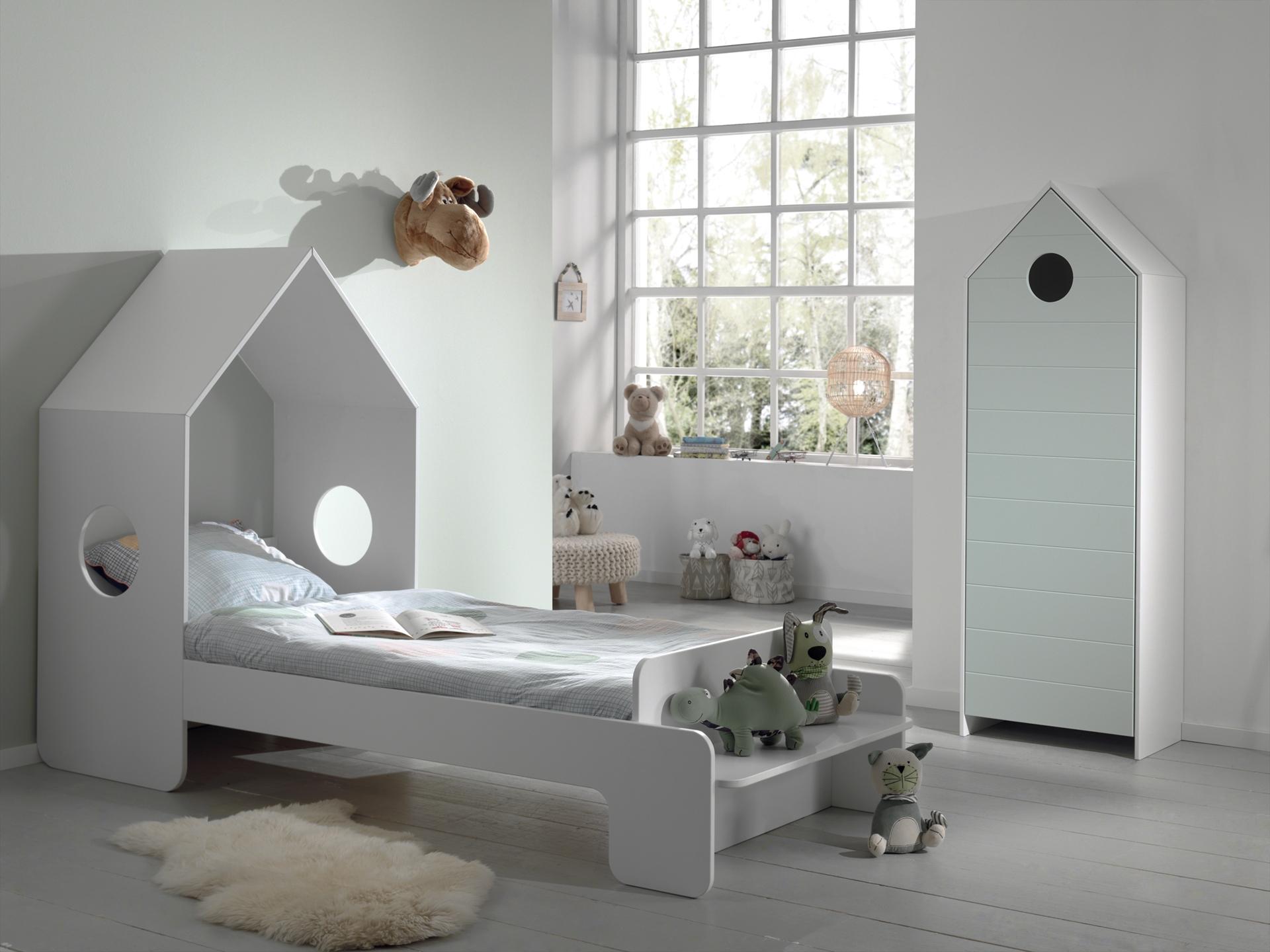 Set Mobila dormitor din MDF, pentru copii 2 piese Casami Verde Mint / Alb, 200 x 90 cm