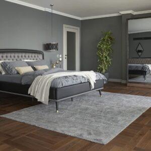 Set Mobila Dormitor din pal, cu pat 200 x 160 cm, 4 piese Diamond Negru / Grafit