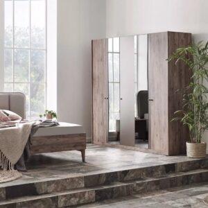 Set Mobila Dormitor din pal, cu pat 200 x 180 cm, 6 piese Elita Natural / Grej