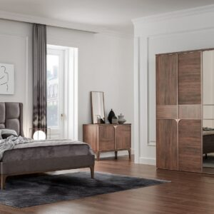Set Mobila Dormitor din pal, cu pat 200 x 160 cm, 6 piese Gold Nuc