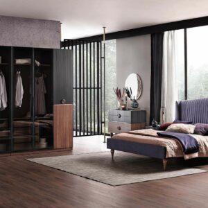 Set Mobila Dormitor din pal, cu pat 200 x 160 cm, 6 piese Montana Antracit / Nuc