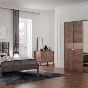 Set Mobila Dormitor din pal, cu pat 200 x 180 cm, 6 piese Gold Nuc