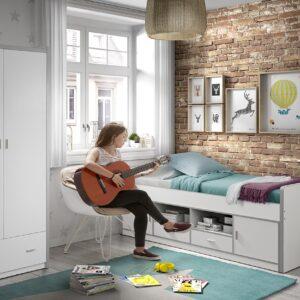 Set Mobila dormitor din pal, pentru copii 2 piese Bonny Capitan Alb, 200 x 90 cm