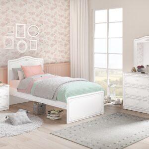 Set Mobila dormitor din pal, pentru tineret 4 piese Selena Grey Alb / Gri, 200 x 100 cm