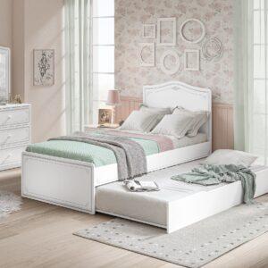 Set Mobila dormitor din pal, pentru tineret 5 piese Selena Small Grey Alb / Gri, 200 x 100 cm