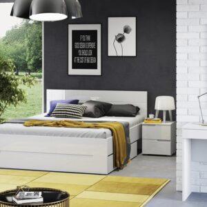 Set Mobila Dormitor din pal si MDF, 5 piese Gabrielle Alb, 200 x 160 cm