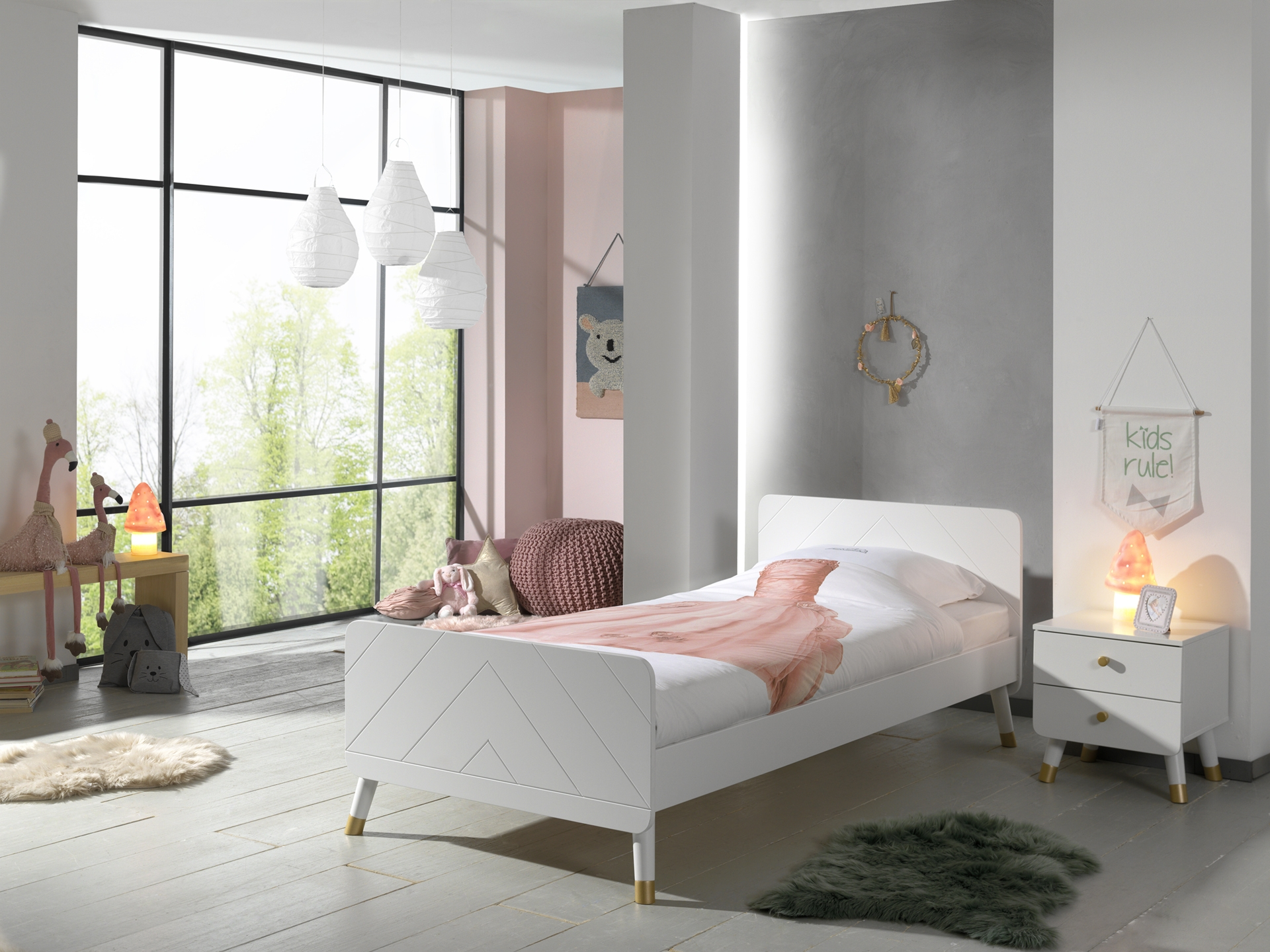 Set Mobila dormitor din pal si MDF, pentru copii 2 piese Billy Alb, 200 x 90 cm
