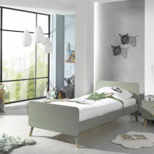 Set Mobila dormitor din pal si MDF, pentru copii 2 piese Billy Verde Olive, 200 x 90 cm