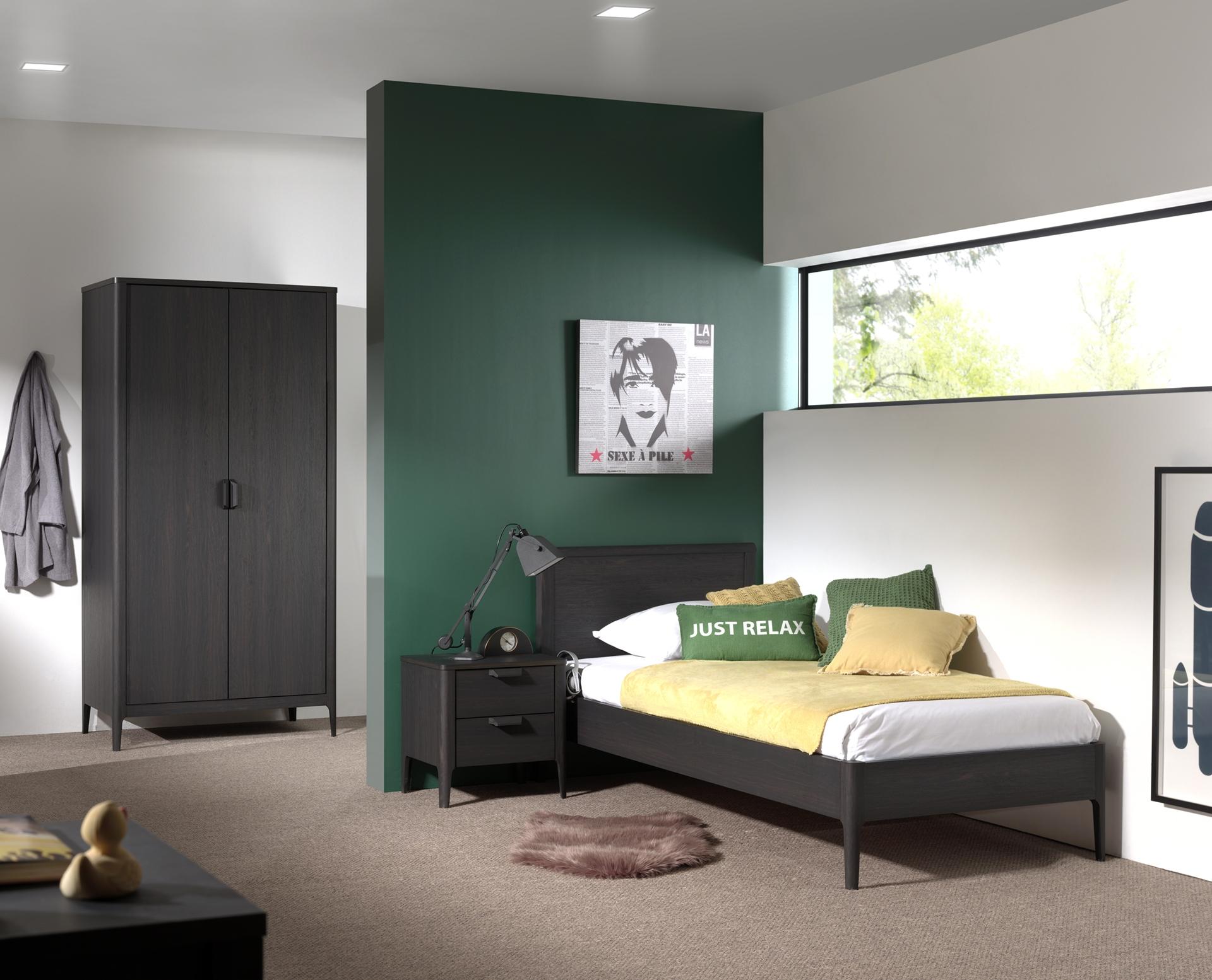 Set Mobila dormitor din pal si MDF, pentru copii 3 piese Azalea Antracit, 200 x 90 cm