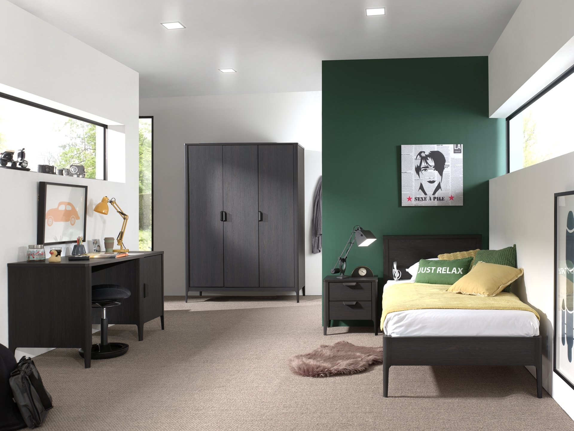 Set Mobila dormitor din pal si MDF, pentru copii 4 piese Azalea Large Antracit, 200 x 90 cm