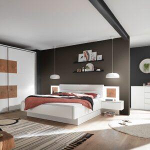 Set Mobila Dormitor din pal si piele ecologica, cu pat 200 x 180 cm, 3 piese Cappy Alb / Natural