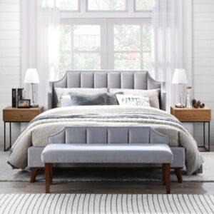 Set Mobila Dormitor tapitat cu stofa, pat 200 x 160 cm, 4 piese Windsor II Velvet Gri deschis